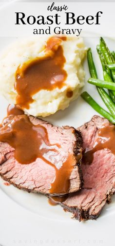 Classic Roast Beef and Gravy - well seasoned and slow cooked this sirloin roast comes to the table tender and juicy and served with a rich red wine gravy. Roast Beef And Mashed Potatoes, Roast Beef Gravy, Tender Roast Beef, Roast Beef Dinner, Sirloin Tip Roast, Roast Beef Recipes, Meat Recipes, Cooking Recipes, Roast Beef For Two