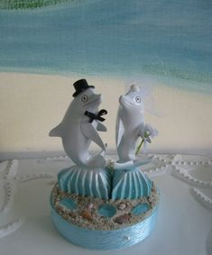 Dolphin Cake Topper~ Bride and Groom