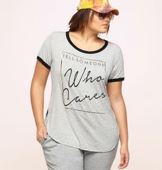 4cf20ee7ccea4 Be your salty self in this plus size Who Cares Ringer Tee available in sizes  1x