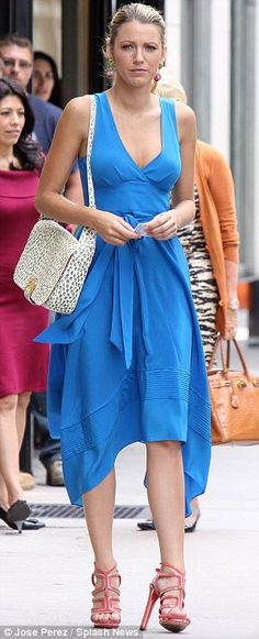 Quick change: Blake Lively swapped her stylish heels for comfortable loafers while filming Gossip Girl on Madison Avenue in Manhattan today