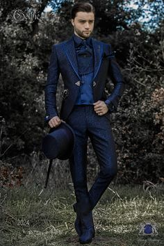 Baroque blue jacquard frock coat, pointed lapels edged with … – Men Styles Costume Homme Baroque, Wedding Men, Wedding Suits, Wedding Suit Collection, Fancy Suit, Gothic Shirts, Designer Suits For Men, Frock Coat, Groomsmen Suits