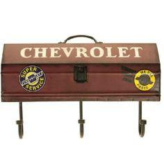 Chevrolet Tool Book Wall Shelf with Hooks http://shop.crackerbarrel.com/Chevrolet-Tool-Book-Shelf-Hooks/dp/B00AFIGKMY