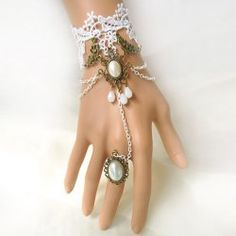 $5.36 Exquisite Beaded Lolita Lace Strand Bracelet With Ring For Women