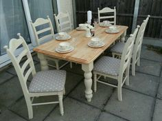 Shabby chic farmhouse table and chairs clarke and clarke fabric annie sloan Shabby Chic Farmhouse, Farmhouse Table, Clarke And Clarke Fabric, Dining Room, Dining Table, Annie Sloan, Table And Chairs, Decorating Ideas, Kitchen