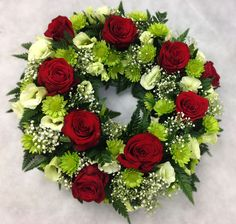 Red Rose & White Lisianthus Wreath