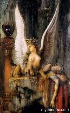 - Her riddle solved, the sphinx killed herself, ridding the land of her terror. Oedipus became king of Thebes. Mythological Creatures, Fantasy Creatures, Mythical Creatures, Greek Mythology, Sphinx Mythology, Sphinx Tattoo, Roman Gods, Garden Angels, Tarot