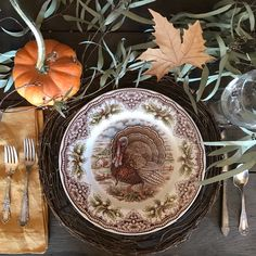 Fall or Thanksgiving tablescape with brown and white transferware @amongthesaguaros