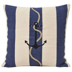 Seaside Reef Anchor Cushion Cover with Nautical Striped Pattern in Navy Blue