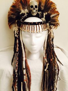 Voodoo Priestess Skull and Feather Headdress by lotuscircle