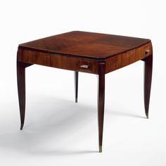 """EMILE-JACQUES RUHLMANN """"DUBLY"""" TABLE branded twice Ruhlmann and with the B atelier mark rosewood and nickel-plated bronze 29 x 35 x 35 in. (73.6 x 88.9 x 88.9 cm) ca. 1927"""