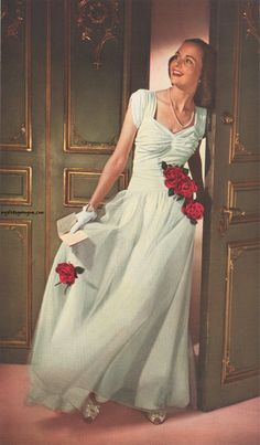 A 1940's dress. I love the rouging.