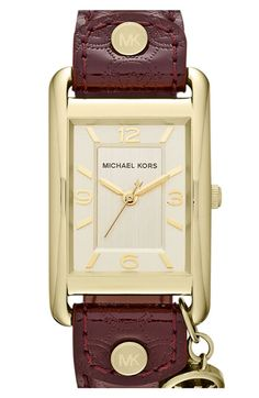 Michael Kors 'Taylor' Square Leather Strap Watch | Nordstrom