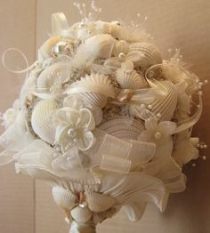 Bridal bouquet seashell bouquet beach wedding by ohonefineday.