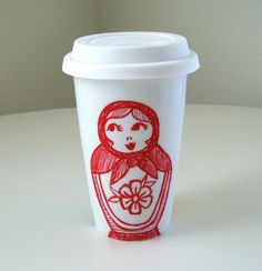 Ceramic Travel Mug Russian Dolls
