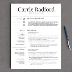 Resume Template Instant Download     Pages  Professional