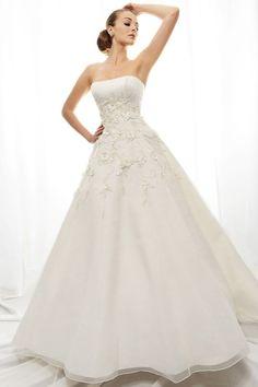 Eden Bridal l Style GL006 l Strapless Chapel Train Princess Satin Wedding Dress
