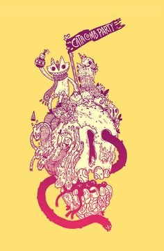 "Catacomb Party by Carrion | Illustration | Newgrounds.com | Author's comments: ""A shirt design for a local music festival. There will be more information about it on my page soon."""