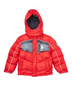 Another great find on #zulily! Winning Red & Gray Dot Puffer Coat - Toddler & Boys #zulilyfinds