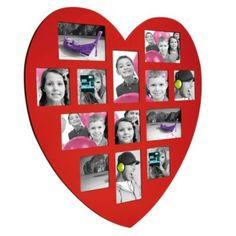 Cadre coeur 13 photos en bois rouge, Autre