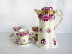Antique China Chocolate Pot, Coffee Pot, Teapot with 3 Matching Cups and Saucers by oldandnew8, $85.00