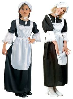 Pilgrim Girl costume - The perfect pilgrim costume for the little lady. Costume comes with a black dress, white apron (attached) and bonnet. Patriotic Costumes, Pilgrim Costume, Fantasy Clothes, White Apron, Pilgrims, Diy For Girls, Diy Costumes, Colonial, Holidays