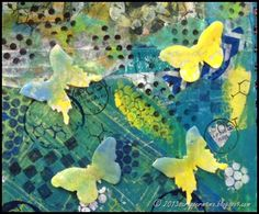 The butterflies are also Gelli prints on white card stock, cut on the Vagabond with Tim's Movers and Shapers die and then dipped in melted UTEE. So, they actually stand off the page.