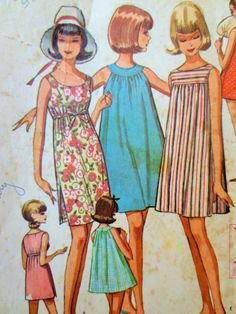 Vintage McCall's 7204 Sewing Pattern, 1960s Dress Pattern, 1960s Shift Dress, Bust 32 to 34, Beach Coverup, 1960s Sewing Pattern, Sleeveless