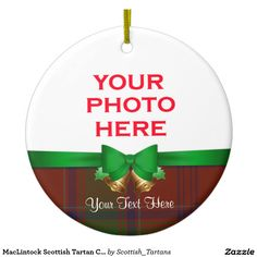 MacLintock Scottish Tartan Christmas Photo Double-Sided Ceramic Round Christmas Ornament