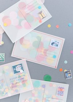 DIY Confetti Postcard - I might have already pinned this, but I'm not sure so I'm posting again (post crossing) Postcard Layout, Postcard Display, Diy Postcard, Printable Postcards, Postcard Wedding Invitation, Funny Postcards, Postcard Template, Postcard Design, Vintage Postcards