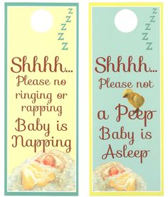 Shhhhh Baby Sleeping Door Hanger. Perfect Door hanger for you to use when you have a Newborn Baby in the house