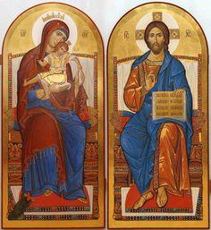 Iconostasis of Mary and Jesus Religious Pictures, Religious Icons, Religious Art, Byzantine Icons, Byzantine Art, Russian Ark, Anima Christi, Church Icon, Jesus E Maria