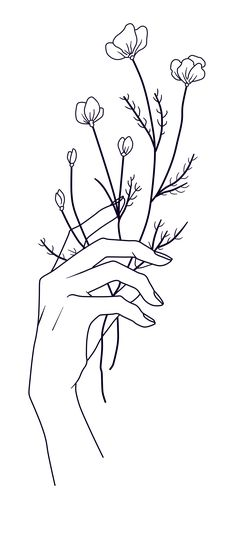 Holding Flowers Art Print By Amenij Design By Humans Embroidery Designs Free Download, Simple Embroidery Designs, Embroidery Art, Line Art Flowers, Flower Art, Freedom Tattoos, Minimalist Drawing, Art Drawings Sketches, Tattoo Drawings