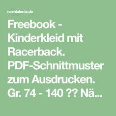 Freebook - Kinderkleid mit Racerback. PDF-Schnittmuster zum Ausdrucken. Gr. 74 - 140 ✂️ Nähtalente - Das Magazin für Hobbyschneider/innen mit Schnittmuster-Datenbank ✂️