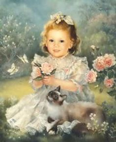 Art Illustration by talented artist Brenda Burke - who paints the most beautiful portraits. Art And Illustration, Illustrations, Amor Animal, Old Master, Beautiful Paintings, Vintage Cards, Oeuvre D'art, Vintage Children, Belle Photo