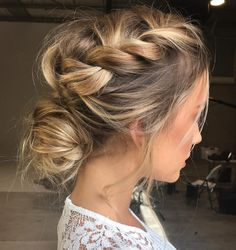 Romantic braided hairstyle, perfect for weddings. #hair #hairstyle #hairgoals #romantic #romanticupdo #braid #braided #braidedhair #blonde #highlights #beauty #bridalhair #fabfashionfix