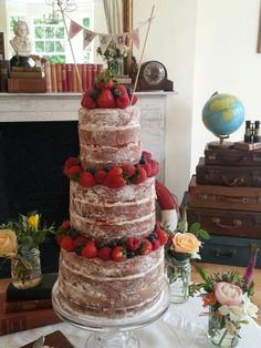 Our three tier Victoria Sandwich can serve between 50 and 60, why not have it as an alternative wedding cake as Karine and Greame did. For vintage styling and homemade cakes please get in touch. www.porterandsmith.co.uk