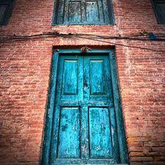 Blue door in Kathmandu