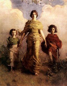 """Abbott Handerson Thayer - """"A Virgin"""" (1892-1893)  Thayer began this group portrait of his children, Gladys, Mary, and Gerald, soon after the untimely death of their mother in 1891. He originally envisioned the central figure, Mary, as Flora, the Greek goddess of flowers, but he decided to make her a Greek """"Victory"""" figure instead, with clouds billowing behind her like wings."""