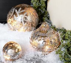 Etched Mercury Glass Ornaments #potterybarn  *******  Maybe could make with a round glass vase (turned upside down.  Possibly etch design on outside?