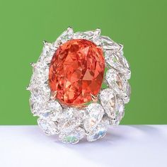 """""""Another showstopper of a ring to be sold at @christiesinc Hong Kong on Nov. 28: This 28.04-carat…"""""""