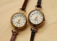 Vintage Watch. Handstitch. Leather Band ///////// Handcraft Watch ///////// Kreis. $170.00, via Etsy.