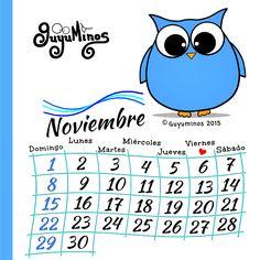 Disfruta de Noviembre!  #calendario #guyuminos #buho #Ouh #noviembre http://guyuminos.blogspot.mx/2015/11/hola-noviembre-calendario-y-tarjeta-de.html