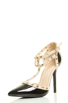 Wild Diva Womens Pointy Toe Gold Stud Strappy Ankle T-Strap Stiletto Heel Pump Sandal ** Continue to the product at the image link.