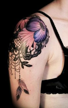 2014 Gorgeous flower dream catcher Tattoo on the shoulder for women