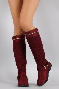 Bamboo Quilted Suede Zipper Trim Riding Knee High Boots | UrbanOG