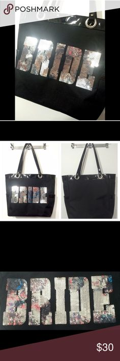 Black & Silver Sequin BRIDE Tote Like new. Black nylon with a black pleather trim. Silver sequins. Inside is just one open compartment. Plain black back. Large size Bags Totes