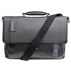 Piquardo Black Italian Leather Laptop Briefcase with iPad®/iPad®Air and iPad®mini Compartment