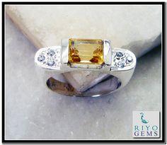 Citrine Silver Ring Gemstone Jewelry 925 Sterling Silver Jewelry by Riyo Gems Handmade Jewellery http://www.riyogems.com