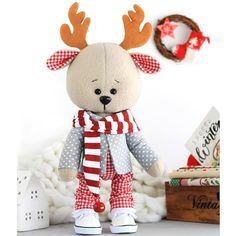 Your place to buy and sell all things handmade Sewing Toys, Baby Sewing, Sewing Kit, Rena, Handmade Soft Toys, Fabric Animals, Diy Gifts For Friends, Baby Deer, Diy Interior