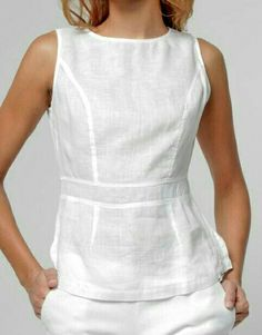 Keeping it simple and classy with a white linen peplum top Chic Outfits, Summer Outfits, Peplum Top Outfits, Peplum Tops, Style Casual, Casual Looks, Kurta Designs, Blouse Designs, Daily Fashion